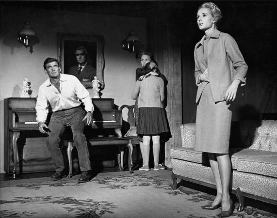 """""""The Birds,"""" Rod Taylor, Veronica Cartwright, and Jessica Tandy (in living room), 1963, 11 x 14 Vintage Silver Gelatin Photograph"""