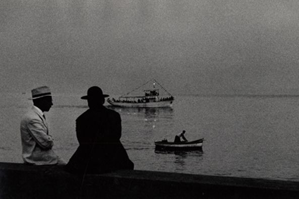 Priest and Friend at the Sea, Naples, 1959, 6-7/8 x 10-1/8 Vintage Silver Gelatin Photograph