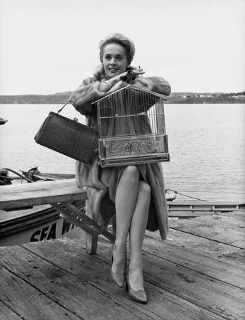 """""""The Birds,"""" Tippi Hedren (with birdcage), 1963, 14 x 11 Vintage Silver Gelatin Photograph"""