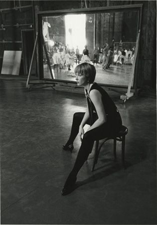 Shirley MacLaine watching rehearsals for the film Can-Can, 20th Century Fox Studios, Los Angeles, California, 1959