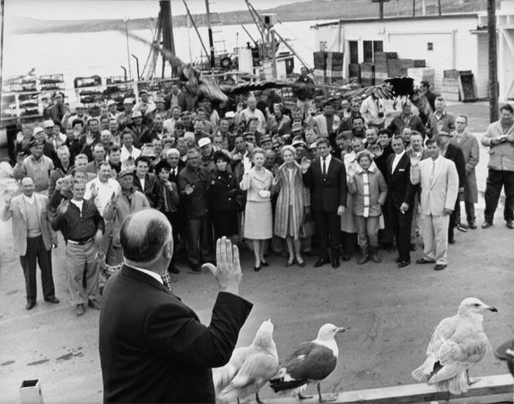 """""""The Birds,"""" Director Alfred Hitchcock Addresses Cast, 1963, 11 x 14 Vintage Silver Gelatin Photograph"""