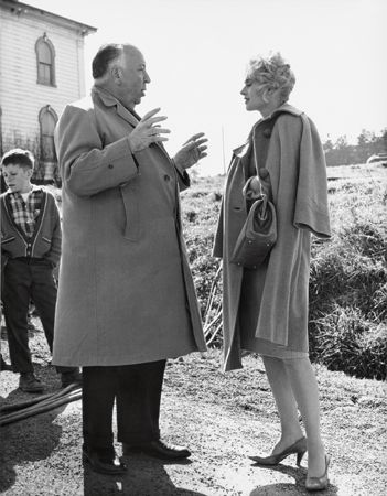 """The Birds,"" Alfred Hitchcock Directs Tippi Hedren, 1963, 14 x 11 Vintage Silver Gelatin Photograph"