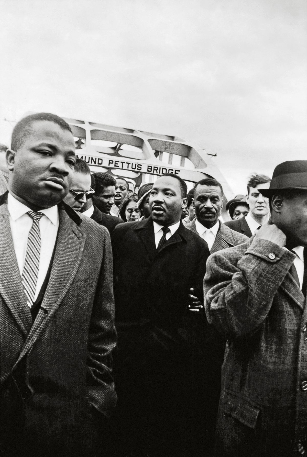 Dr. King Crosses the Edmund Pettus Bridge with Reverends Ralph Abernathy & Fred Shuttlesworth, 1965, 20 x 16 Inches, Silver Gelatin Photograph, Edition of 25