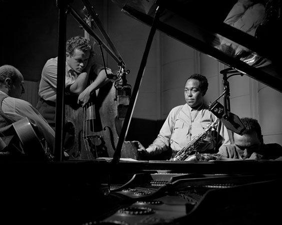 "The Metronome All Stars (Eddie Safranski, Billy Bauer, Charlie ""Bird"" Parker, Lennie Tristano), New York City, 1949, 11 x 14 Silver Gelatin Photograph"