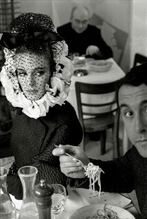 Deborah Dixon Eating Spaghetti with Writer Antero Piletti, Italian High Fashion, for Harper's Bazaar, Rome, Italy, 1962