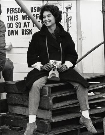 """""""The Birds,"""" Suzanne Pleshette (with camera), 1963, 14 x 11 Vintage Silver Gelatin Photograph"""