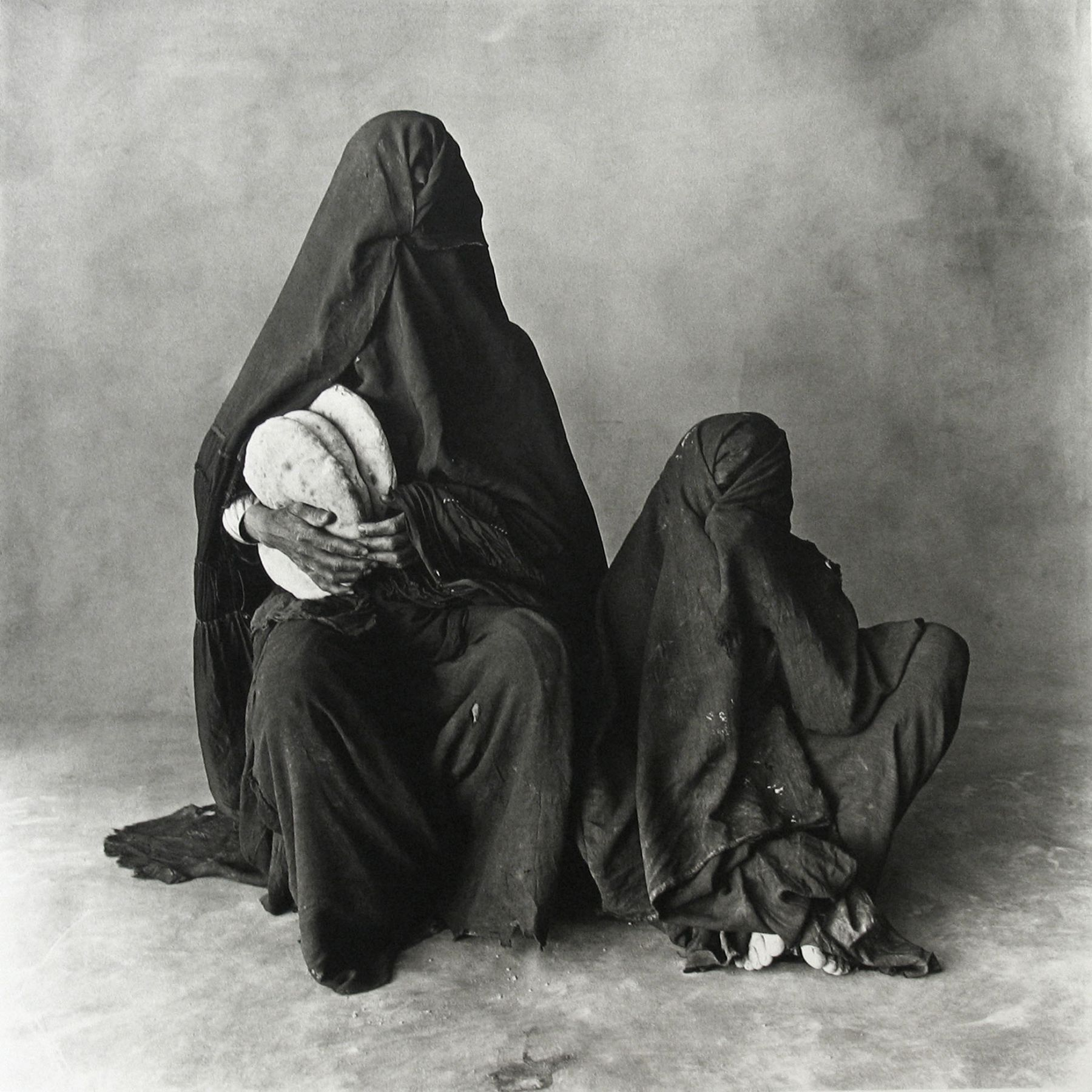 Two Women in Black with Bread, Morocco, 1971, Platinum Palladium Photograph, Ed. of 21