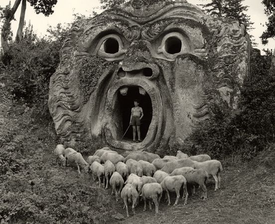 The 'Mostro' at Bomarzo, 1952, 30cm x 40cm Silver Gelatin Photograph