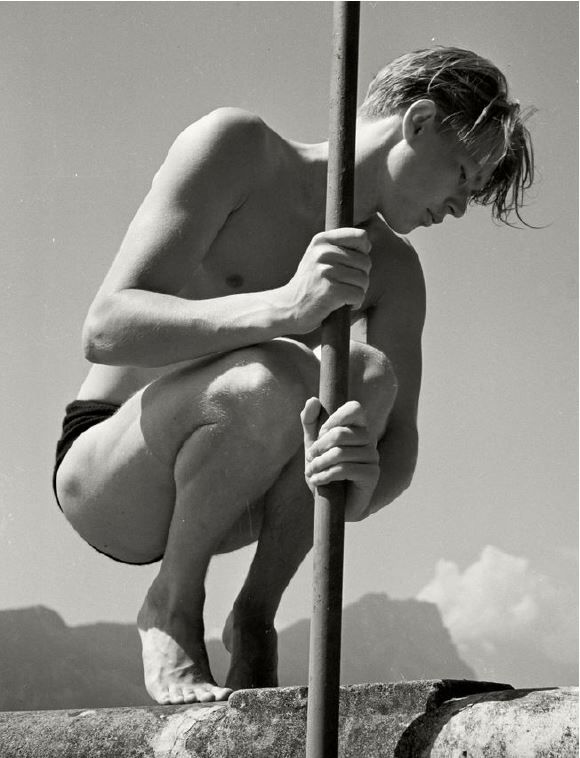 Ritti with Fishing Rod, Switzerland, 1937, Inkjet Baryt Print