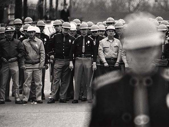 The police line during Dr. Martin Luther King, Jr.'s march in Selma, Alabama, 1964