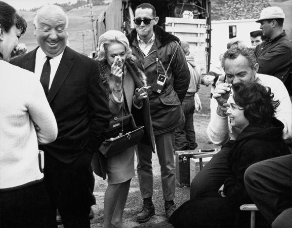"""The Birds,"" (Alfred Hitchcock, Tippi Hedren, Suzanne Pleshette, and Cast on Set), 1963, 11 x 14 Vintage Silver Gelatin Photograph"