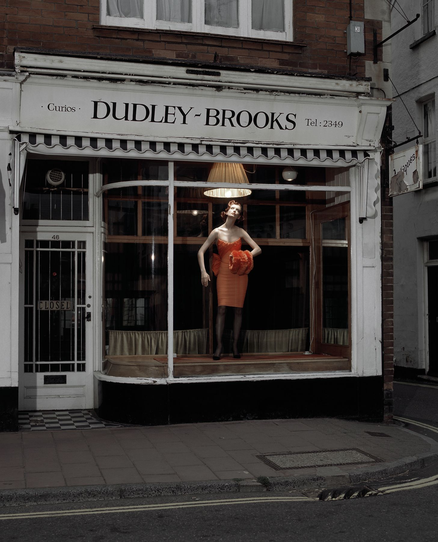 Model in Curios Window, England, 1995, Archival Pigment Print
