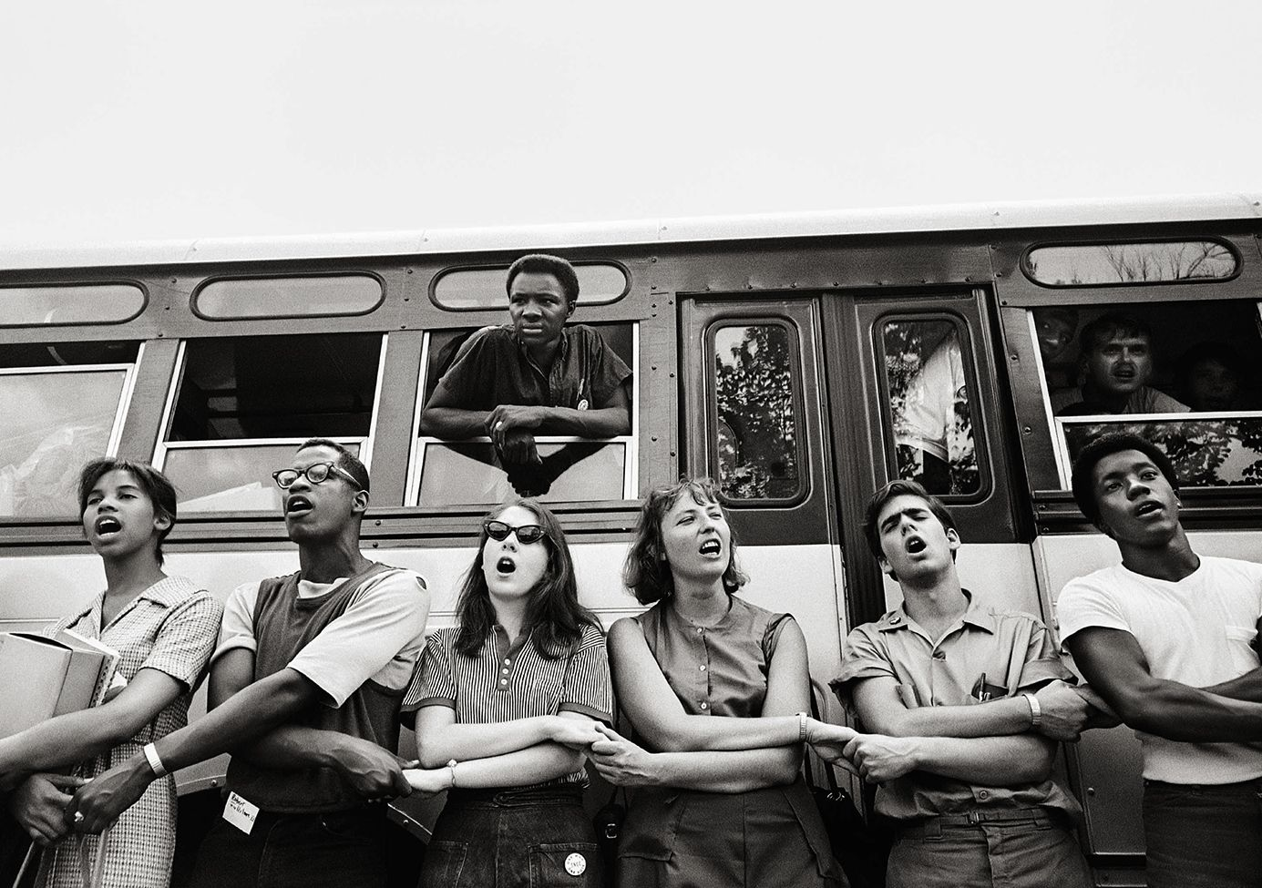 """""""We Shall Overcome,"""" Students Leaving for """"Summer of '64,"""" Oxford, Ohio, 1964, 16 x 20 Inches, Silver Gelatin Photograph, Edition of 25"""