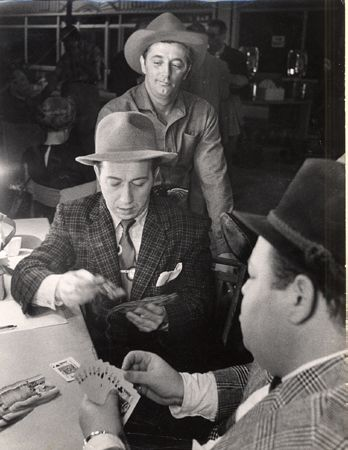 Robert Mitchum (Playing Cards on Set), 20 x 16 Silver Gelatin Photograph