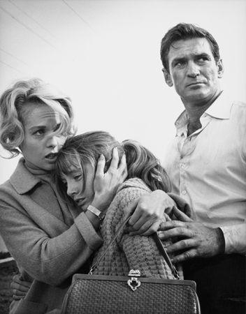 """The Birds,"" Tippi Hedren, Veronica Cartwright, and Rod Taylor, 1963, 14 x 11 Vintage Silver Gelatin Photograph"
