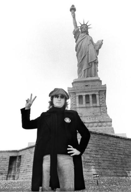 "John Lennon, ""Statue of Liberty"", New York, 1974, 11 x 14 Silver Gelatin Photograph"