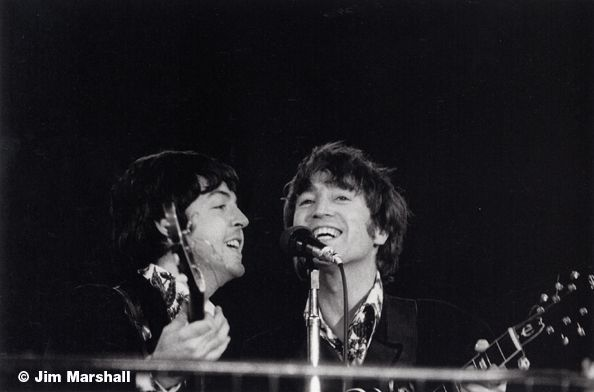 Paul McCartney and John Lennon (on Stage), Candlestick Park, San Francisco, 1966, 11 x 14 Silver Gelatin Photograph