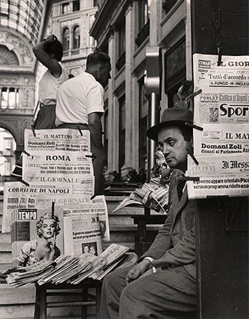 Newspaper Seller at Galleria, Naples, 1960, 10-3/8 x 8-1/16 Vintage Silver Gelatin Photograph
