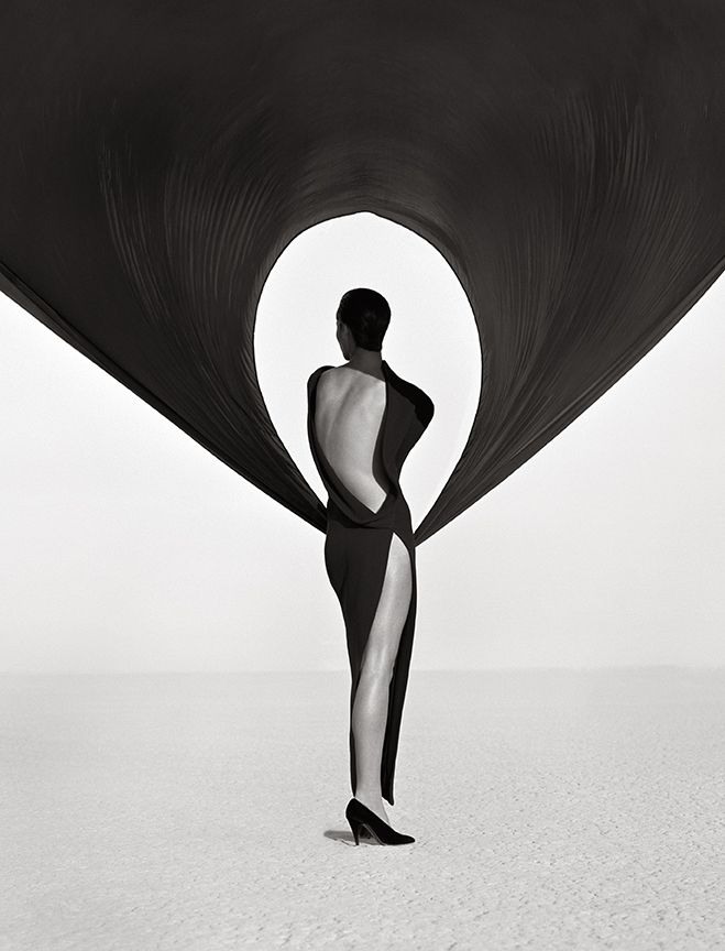Herb Ritts Versace Dress, Back View, El Mirage, 1990