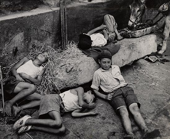 Boys in Donkey Stable, Naples, 1949, 9-1/4 x 11-3/8 Vintage Silver Gelatin Photograph