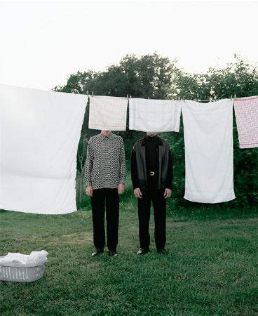 Two Men Standing Behind Clothesline, 1995, Archival Pigment Print