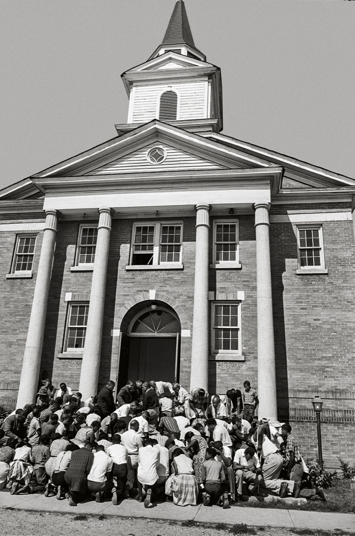 Crowd Praying on Steps of Church, Clarksdale, Mississipi, 1965, 20x 16Inches, Silver Gelatin Photograph, Edition of 25