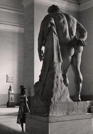 Flirt with Hercules Borghese, Naples, 1961, 11-1/2 x 7-15/16 Vintage Silver Gelatin Photograph
