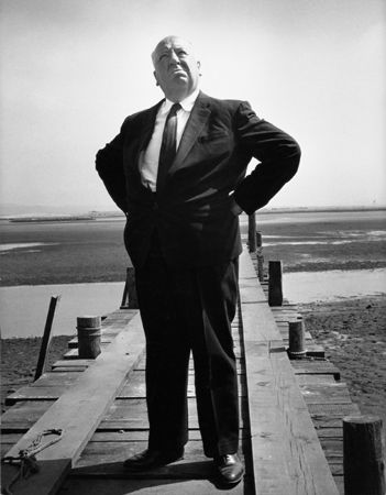 """Alfred Hitchcock Publicity Shot for """"The Birds,"""" 1963, 14 x 11 Vintage Silver Gelatin Photograph"""