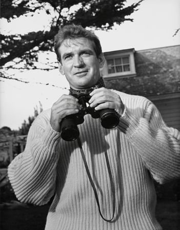"""The Birds,"" Rod Taylor (with binoculars), 1963, 14 x 11 Vintage Silver Gelatin Photograph"
