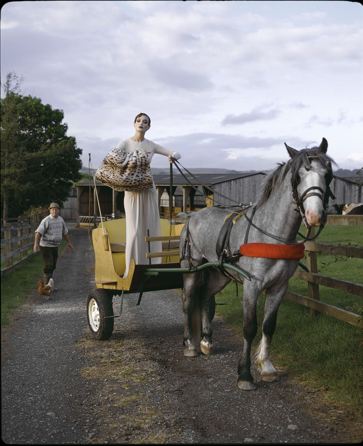 Model in a Horse Buggy, England, 1995, Archival Pigment Print
