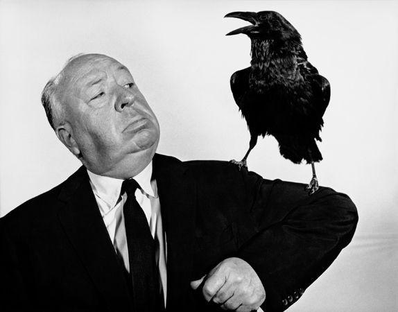"""Alfred Hitchcock Publicity Shot for """"The Birds"""" (with raven), 1963, 11 x 14 Vintage Silver Gelatin Photograph"""