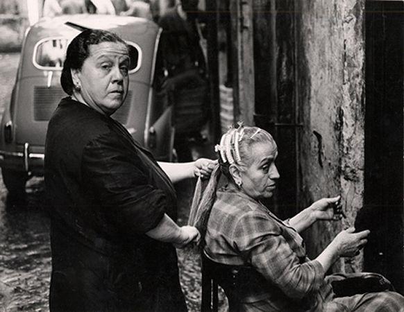 Hair Salon on the Street, Naples, 1961, 8-7/8 x 11-1/2 Vintage Silver Gelatin Photograph