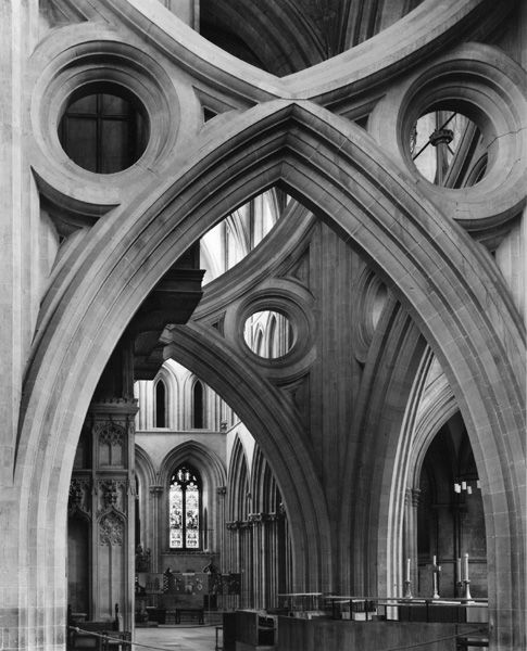 Central Arches, Wells Cathedral, 1980, 28 x 22 Inches, Silver Gelatin Photograph