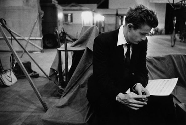 James Dean on the Warner Bros. set of Rebel Without a Cause, 1955