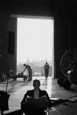 Frank Sinatra on the 20th Century Fox Studios set of Can-Can, Hollywood, California, 1959