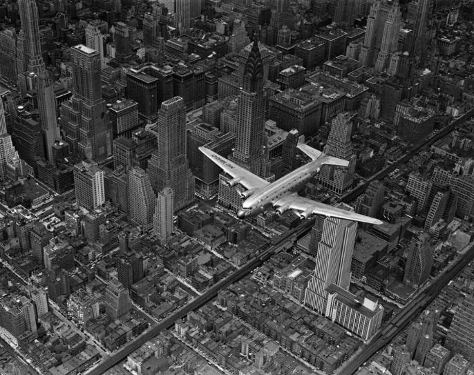 Margaret Bourke-White DC-4 Flying Over New York City, 1939