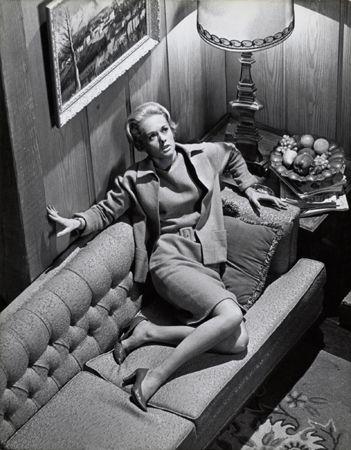 """The Birds,"" Tippi Hedren (on couch), 1963, 14 x 11 Vintage Silver Gelatin Photograph"