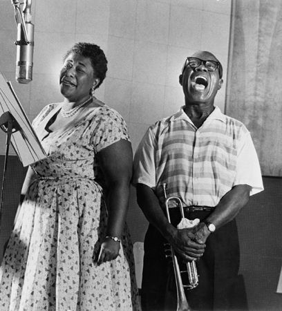 "Ella Fitzgerald & Louis Armstrong Recording the Album, ""Ella and Louis"", Los Angeles, 1956, 20 x 16 Silver Gelatin Photograph"