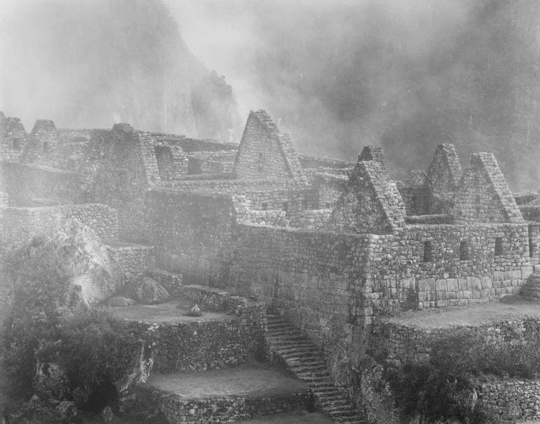 Rooftops in Fog, Machu Pichu, Silver Gelatin Photograph