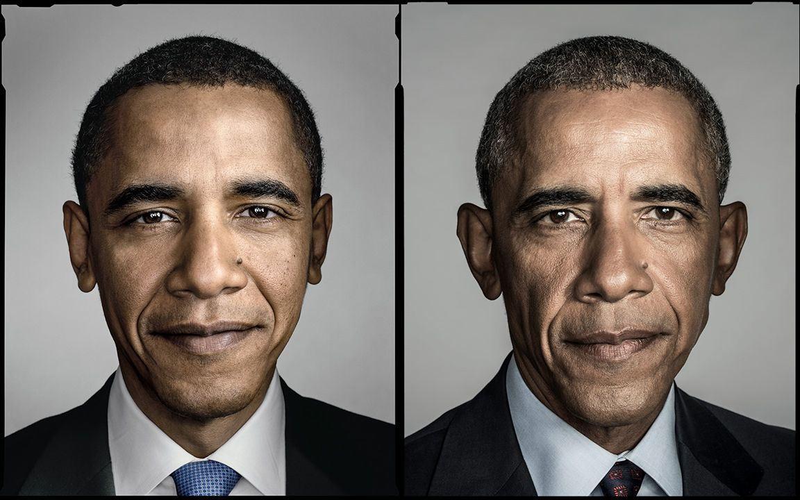 Diptych, Senator Barack Obama, San Antonio, Texas, March 5, 2008-- President Barack Obama, Washington D.C., 2016