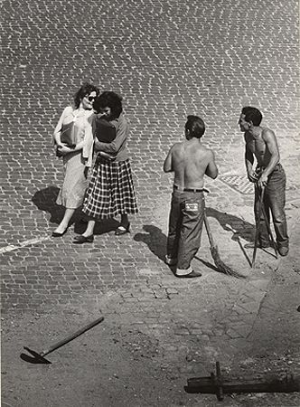 View From A Window 7, Roman Flirt, Trastevere, 1953, 9-15/16 x 7-3/10 Vintage Silver Gelatin Photograph