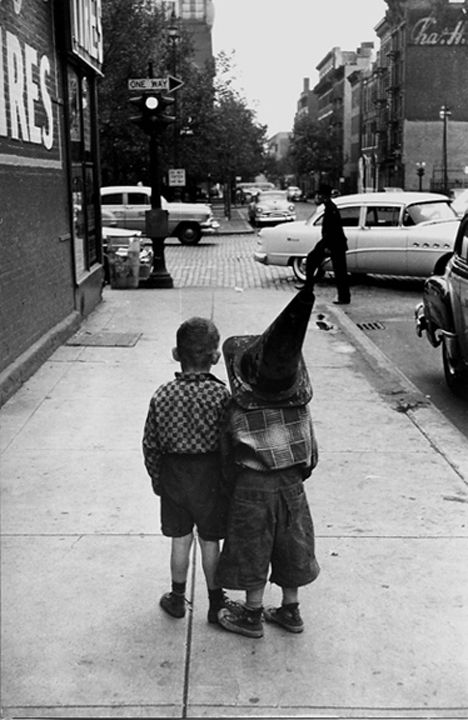 Boys with Hats, New York, 1955, Silver Gelatin Photograph