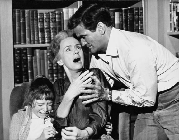 """""""The Birds,"""" Rod Taylor, Jessica Tandy, and Veronica Cartwright, 1963, 11 x 14 Vintage Silver Gelatin Photograph"""
