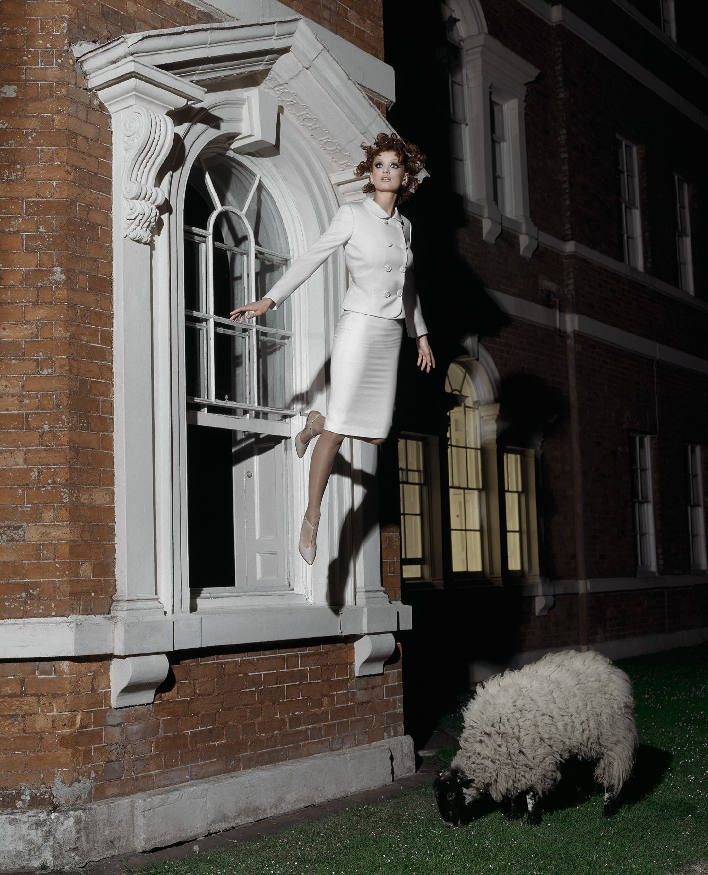 Model Flying From Window, England, 1995, Archival Pigment Print