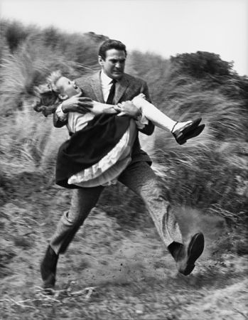 """""""The Birds,"""" Rod Taylor and Young Actress, 1963, 14 x 11 Vintage Silver Gelatin Photograph"""