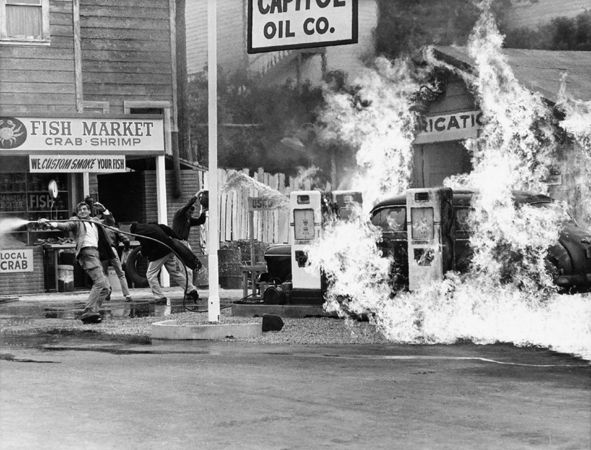 """The Birds,"" Gas Station Fire, 1963, 11 x 14 Vintage Silver Gelatin Photograph"