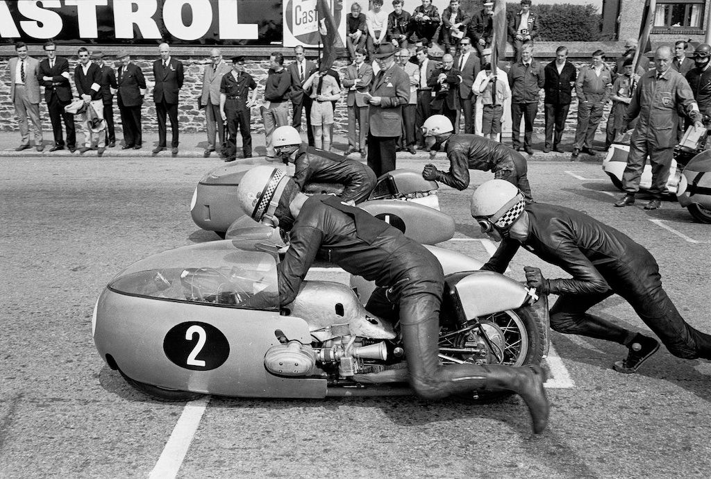 Start Line with Sidecar Racers Rolling, Isle of Man TT, 1967, 17 x 22 Archival Pigment Print
