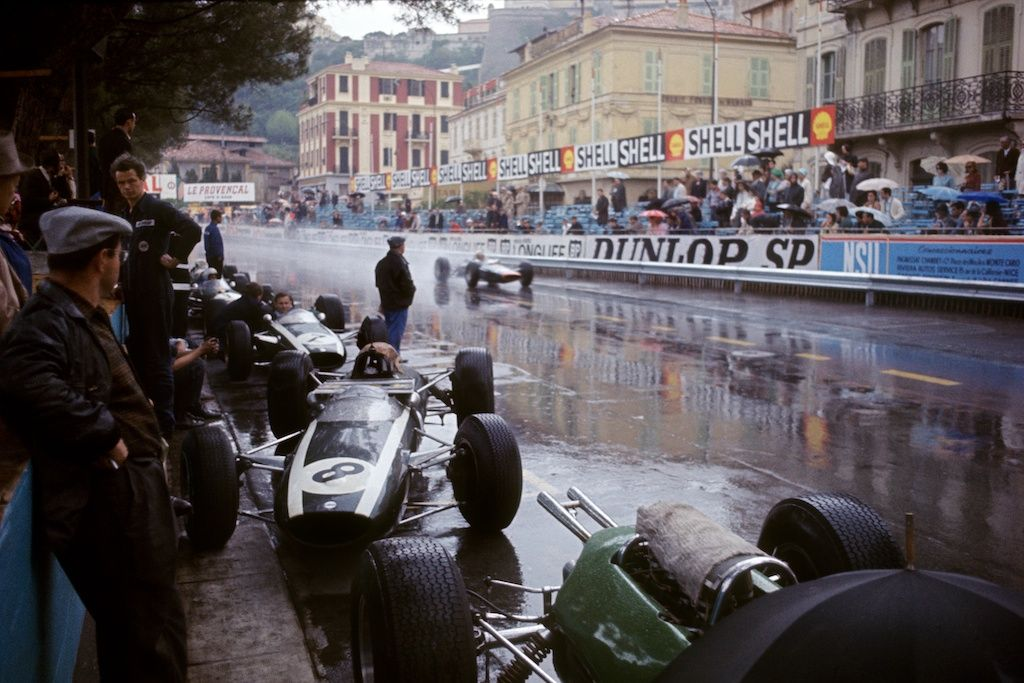 Practice in the Rain, Monaco, 1962, 17 x 22 Archival Pigment Print
