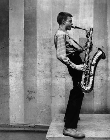 Gerry Mulligan at a Los Angeles recording session, California, 1953