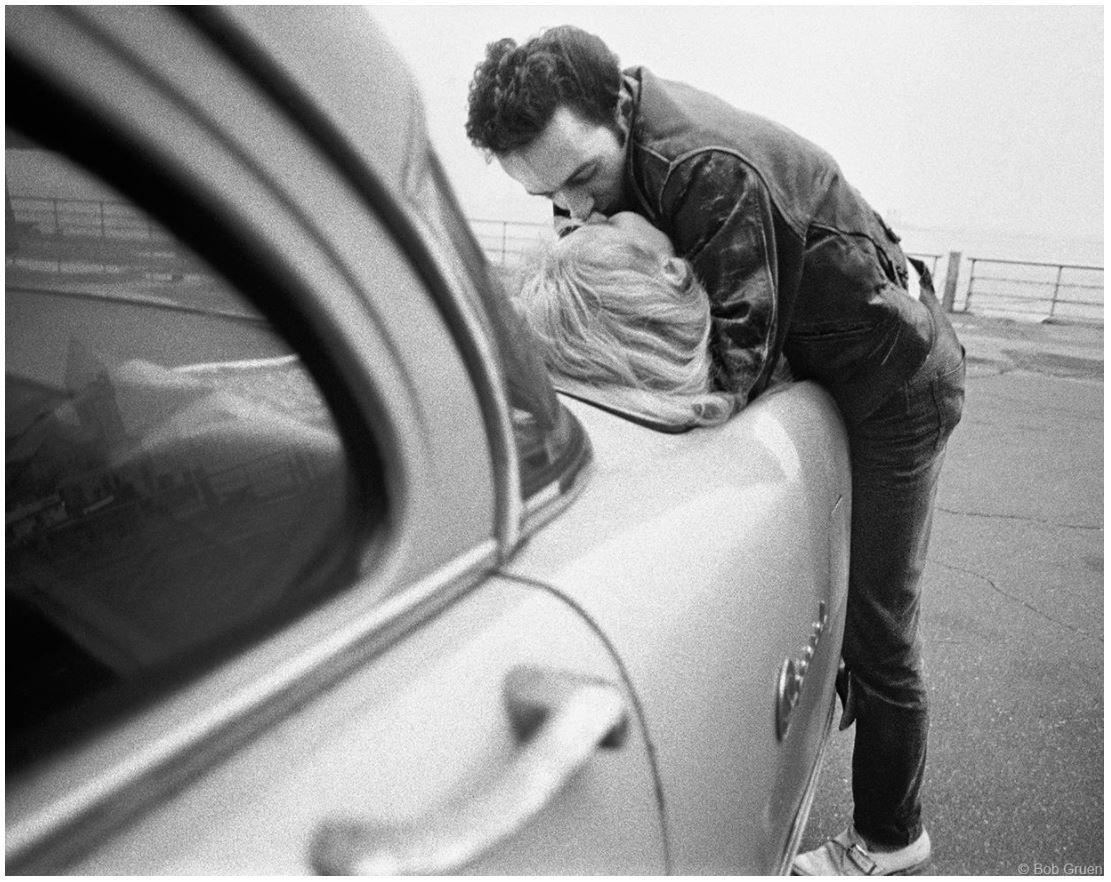 Joe Strummer & Gaby - Kiss on Car, NYC, 1981, 11 x 14 Silver Gelatin Photograph